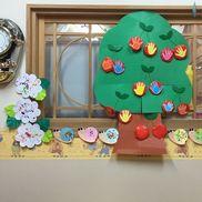 [0歳児]木…さくらんぼ       材料・子どもの手形             ・丸い画用紙に赤のカラーポリ袋で包む                (その中にポリ袋の端切れ等入れてふっくらさせる)             ・緑のモール(さくらんぼのヘタ)紫陽花       材料・画用紙に指スタンプカタツムリ       材料・色画用紙に指スタンプ