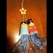 織り姫&彦星1歳児紙コップには星型を両面テープで貼ってもらい、顔も書きました。