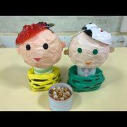 オニは外!福はうち!玄関飾り小さいお面が豆に付いていたので以前作った人形を節分アレンジにして玄関にかざりました。