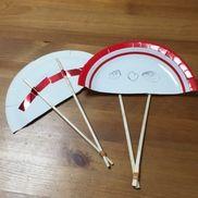 紙皿で扇子4歳紙皿割り箸輪ゴム