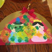 2歳児作品ひな祭りの飾りを作りました。先にクレヨンで目や口を書いて最後に絵の具でデコレーションしました♪絵の具は割り箸の先にスポンジを付けてゴムでとめてスタンプ作ってポンポンとさせて色付けさせました。とてもみんな集中して色付けしてました。