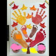 【秋の手形アート】