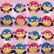 3歳児紙皿で作る鬼のお面クレパス描き絵の具はさみのり