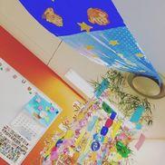 天の川:ビニール袋、星(色画用紙)、子どもの手形