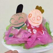 (壁掛けひな人形)画用紙、柄折り紙紙皿、フラワーペーパーくれよん、のり、ひも、穴あけパンチ