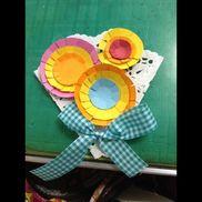 卒園式 コサージュ3歳児、4歳児ハサミ、のり、画用紙、レースペーパーリボン