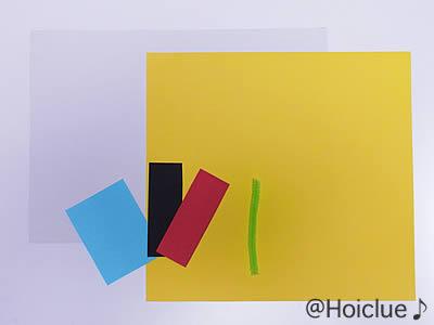材料として使う厚紙、色画用紙、モールの写真